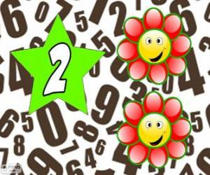 Nummer 2 in einem stern mit zwei blüten puzzle
