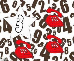 Nummer 3 in einem stern mit drei telefonen puzzle