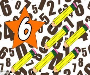 Nummer 6 in einem stern mit sechs stifte puzzle