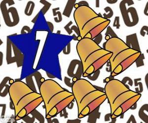 Nummer 7 in einem stern mit sieben glocken puzzle