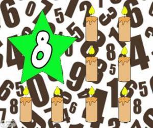 Nummer 8 in einem stern mit acht kerzen puzzle