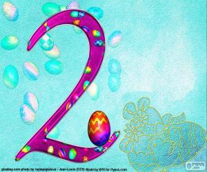 Nummer zwei von Ostern puzzle