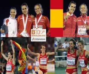 Nuria Fernandez Champion auf 1500 m, Hind Dehiba und Natalia Rodriguez (2. und 3.) der Leichtathletik-Europameisterschaft Barcelona 2010 puzzle