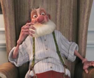 Opa Weihnachtsmann, der schrullige alte Vater von Santa, der die moderne Welt hasst puzzle