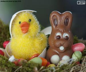 Ostern-Küken und Kaninchen puzzle