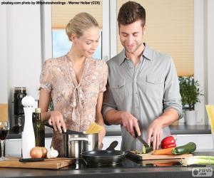 Paar in der Küche puzzle