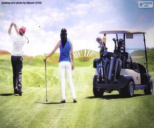 Paar spielt Golf puzzle