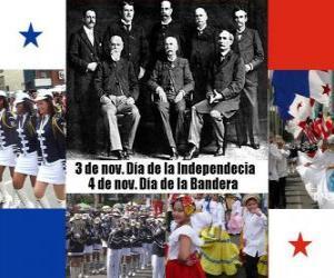 Panamas Nationalfeiertagen. 3. November Unabhängigkeitstag. 4. November Flagge Tag puzzle