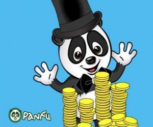 Panda sehr glücklich sehen viele Münzen Panfu puzzle