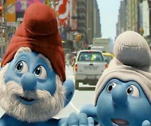 Papa Schlumpf und Clumsy, die Straßen von Manhattan. - Die Schlümpfe, film - puzzle