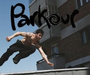 Parkour ist eine Art der Konditionierung des Körpers und des Geistes durch das Lernen, wie man Hindernisse schnell und effizient zu überwinden puzzle