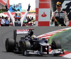 Pastor Maldonado feiert seinen Sieg in der Grand Prix von Spanien (2012) puzzle