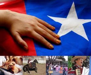 Patriotische Feiern in Chile. Der achtzehnte am 18. und 19. September in Erinnerung an Chile als unabhängiger Staat puzzle