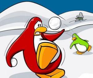 Penguins einen Krieg der Schnee im Club Penguin puzzle