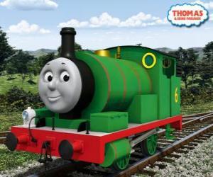 Percy, der jüngste Lokomotive, grün gefärbt und mit der Nummer 6. Percy ist der beste Freund von Thomas puzzle