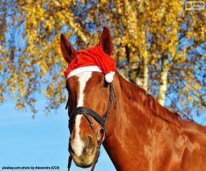 Pferd mit Weihnachtsmann Mütze puzzle