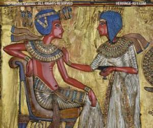 Pharao sitzt auf seinem thron mit einem zepter nejej, in form einer peitsche, in der hand puzzle