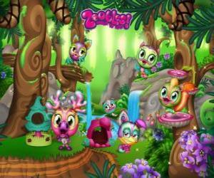 Pinegrove wo die Zoobles verstecken, laufen, Schwimmen und spielen puzzle
