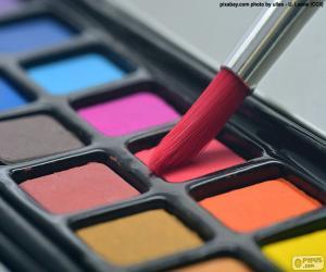 Pinsel und Wasserfarben puzzle