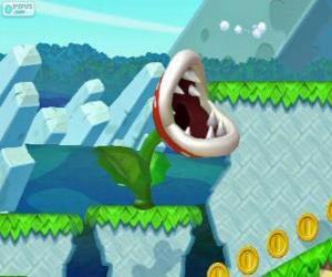 Piranha-Pflanze. Piranha-Blume. Fleischfressende Pflanze aus der Mario-Serie puzzle