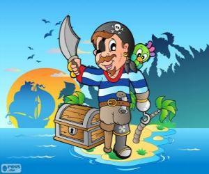 Pirat mit Schatzkiste puzzle