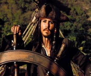 Piraten Kapitän an der Spitze seines boot puzzle