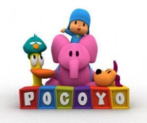 Pocoyo die besten Freunde sind Pato, Elli, Loulou und Sleepy Bird puzzle