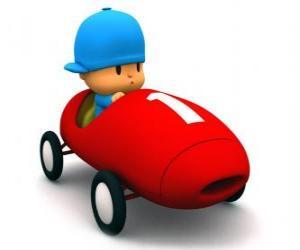 Pocoyo Fahren eines Rennwagens puzzle