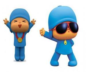 Pocoyo ist ein kleiner Junge, verspielt und lustig, die Entdeckung der Welt ist puzzle