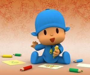 Pocoyo sitzen auf dem Boden und machen eine Zeichnung auf einem Blatt Papier puzzle