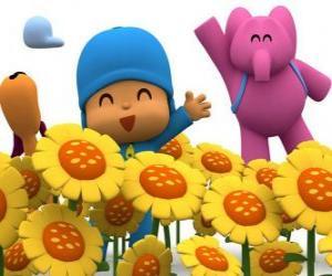 Pocoyo und seine Freunde in einem Feld von Sonnenblumen puzzle