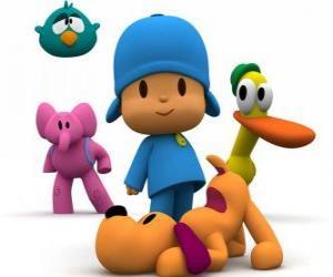 Pocoyo und seinen Freunden Pato, Elli, Loulou und Sleepy Bird puzzle