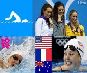 Podium 200 Meter schwimmen Stil frei weiblich, Allison Schmitt (Vereinigte Staaten), Camille Muffat (Frankreich) und Bronte Barratt (Australien) - London 2012- puzzle