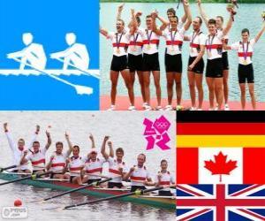 Podium Achter mit Steuermann männer, Deutschland, Kanada und Großbritannien - London 2012- puzzle