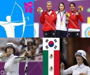 Podium Bogenschießen einzelne weiblich, Ki Bo-Bae (Südkorea), Aida Román und Mariana Avitia (Mexiko) - London 2012- puzzle