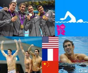 Podium der Herren von Staffel 4 x 200 Meter Freistil, USA, Frankreich und China - London 2012 - Schwimmen puzzle