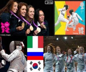 Podium Fechten florett Mannschaft frauen, Italien, Russland und Südkorea - London 2012- puzzle