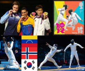 Podium Fechten Männer einzelne Schwert, Rubén Limardo Gascón (Venezuela), Bartosz Piasecki (Norwegen) und Jung Jin-Sun (Südkorea) - London 2012 - puzzle