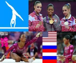 Podium Gerätturnen Mehrkampf Einzel frauen, Gabrielle Douglas (USA), Viktoria Komova und Aliya Mustafina (Russland) - London 2012- puzzle