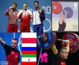 Podium im Gewichtheben Männer 85 kg, Adrian Franzewitsch (Polen), Eignung Aujadov (Russland) und (Iran) - London 2012 - A. Rostami puzzle