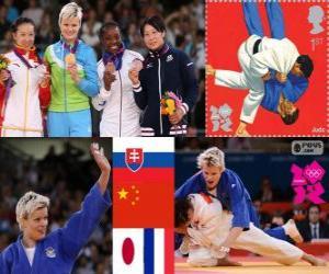 Podium Judo Damen - 63 kg, Urška Žolnir (Slowenien), Xu Lili (China) und Gevrise Emane (Frankreich), Yoshie Ueno (Japan) - London 2012- puzzle
