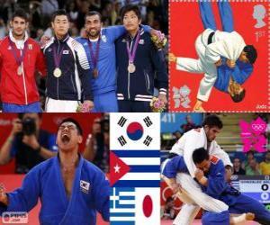 Podium Judo Herren - 90 kg, Asley González (Kuba), Masashi Nishiyama (Japan) - London 2012- und Ilias Iliadis (Griechenland), Song Dae-Nam (Südkorea) puzzle