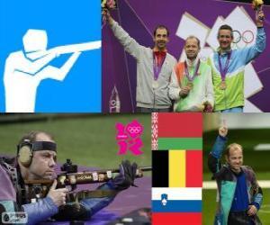 Podium Kleinkalibergewehr liegend 50 Meter Männer, Sergei Martynov (Belarus), Lionel Cox (Belgien) und Rajmond Debevec (Slowenien) - London 2012- puzzle