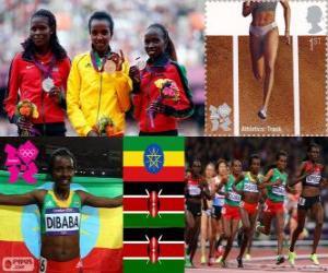 Podium Leichtathletik 10.000 weibliche m, Tirunesh Dibaba (Äthiopien), Sally Kipyego und Vivian Cheruiyot (Kenia) - London 2012- puzzle