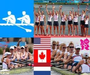 Podium Rudern Achter mit Steuerfrau, Vereinigte Staaten, Kanada und Niederlande - London 2012 - puzzle