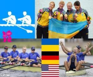 Podium Rudern Doppelvierer frauen, Ukraine, Deutschland und USA - London 2012- puzzle