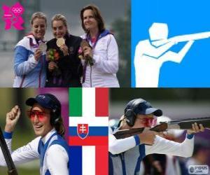 Podium schießen Damen zu überfüllen, Jessica Rossi (Italien), Zuzana Štefečekova (Slowakei) und Delphine Réau (Frankreich) - London 2012- puzzle