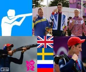 Podium Schießen Wurfscheibe Doppeltrap männer, Peter Robert Wilson (Großbritannien), Hakan Dahlby (Schweden) und Wassili Mosin (Russland) - London 2012- puzzle
