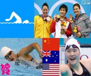 Podium Schwimmen 200 m einzelnen Frauen kombiniert, Shiwen Ye (China), Alicia Coutts (Australien) und Caitlin Leverenz (USA) - London 2012- puzzle