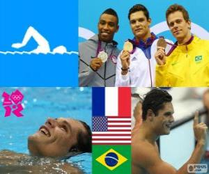 Podium schwimmen 50 m Freistil, Florent Manaudou (Frankreich), Cullen Jones (USA) und César Cielo (Brasilien) - London 2012- puzzle